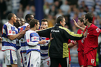 Photo: Lee Earle.<br /> Queens Park Rangers v Cardiff City. Coca Cola Championship. 21/04/2007.Both teams square up to each other at the end of the match.