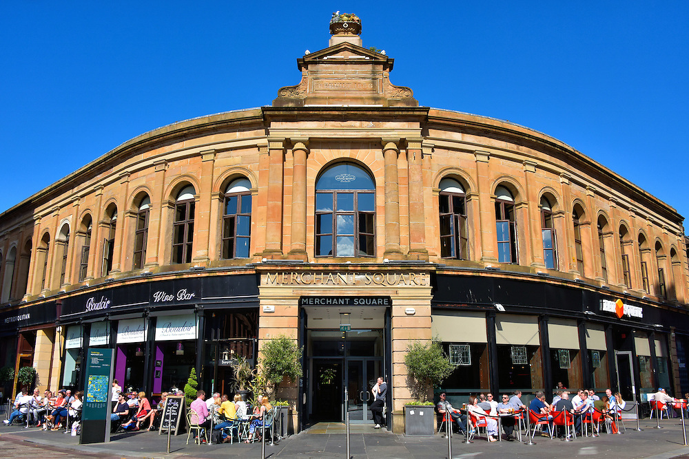 Outside Drinking at Merchant Square in Glasgow, Scotland<br />