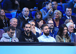 Robert Pires (centre left) and Olivier Giroud (centre right) during day eight of the Barclays ATP World Tour Finals at The O2, London.