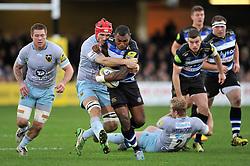 Semesa Rokoduguni of Bath Rugby takes on the Northampton Saints defence - Mandatory byline: Patrick Khachfe/JMP - 07966 386802 - 05/12/2015 - RUGBY UNION - The Recreation Ground - Bath, England - Bath Rugby v Northampton Saints - Aviva Premiership.
