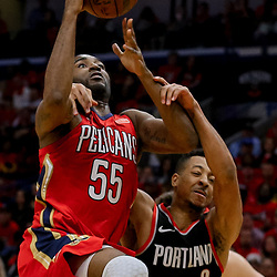 Apr 21, 2018; New Orleans, LA, USA; Portland Trail Blazers guard CJ McCollum (3) draws a flagrant foul against New Orleans Pelicans forward E'Twaun Moore (55) during the second quarter in game four of the first round of the 2018 NBA Playoffs at the Smoothie King Center. Mandatory Credit: Derick E. Hingle-USA TODAY Sports