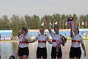 Beijing, CHINA, GER JW4X, gold medallist, on the awards dock, Claudia SCHIWY, Clara KARCHES, Mereike ADAMS and Rebekka KLEMP,   at  the  2007. FISA Junior World Rowing Championships,  Shunyi Water Sports Complex. 11/08/2007 [Photo, Peter Spurrier/Intersport-images]..... , Rowing Course, Shun Yi Water Complex, Beijing, CHINA,