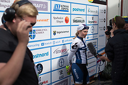 Lotta Lepistö (FIN) of Cervélo-Bigla Cycling Team talks to the press after the Crescent Vargarda - a 152 km road race, starting and finishing in Vargarda on August 13, 2017, in Vastra Gotaland, Sweden. (Photo by Balint Hamvas/Velofocus.com)