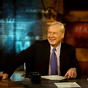 Chris Matthews, during a taping of his show   Hardball on MSNBC,  March 20, 2009. Photo by Evelyn Hockstein for the New York Times.