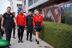 BRATISLAVA, SLOVAKIA - Thursday, October 10, 2019: Wales' L-R Ashley Williams, sports scientist Ronan Kavanagh and captain Gareth Bale during a pre-match team walk near the Hotel NH Bratislava Gate One ahead of the UEFA Euro 2020 Qualifying Group E match between Slovakia and Wales. (Pic by David Rawcliffe/Propaganda)