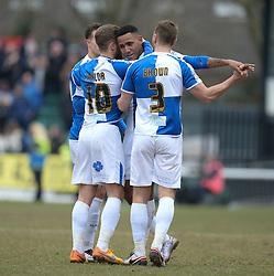 Cristian Montano of Bristol Rovers celebrates his goal with the team. - Mandatory byline: Alex James/JMP - 19/03/2016 - FOOTBALL - Rodney Parade - Newport, England - Newport County v Bristol Rovers - Sky Bet League Two