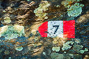 Trail marker on the Sentiero Azzurro (Blue Trail) near Vernazza, Cinque Terre, Liguria, Italy