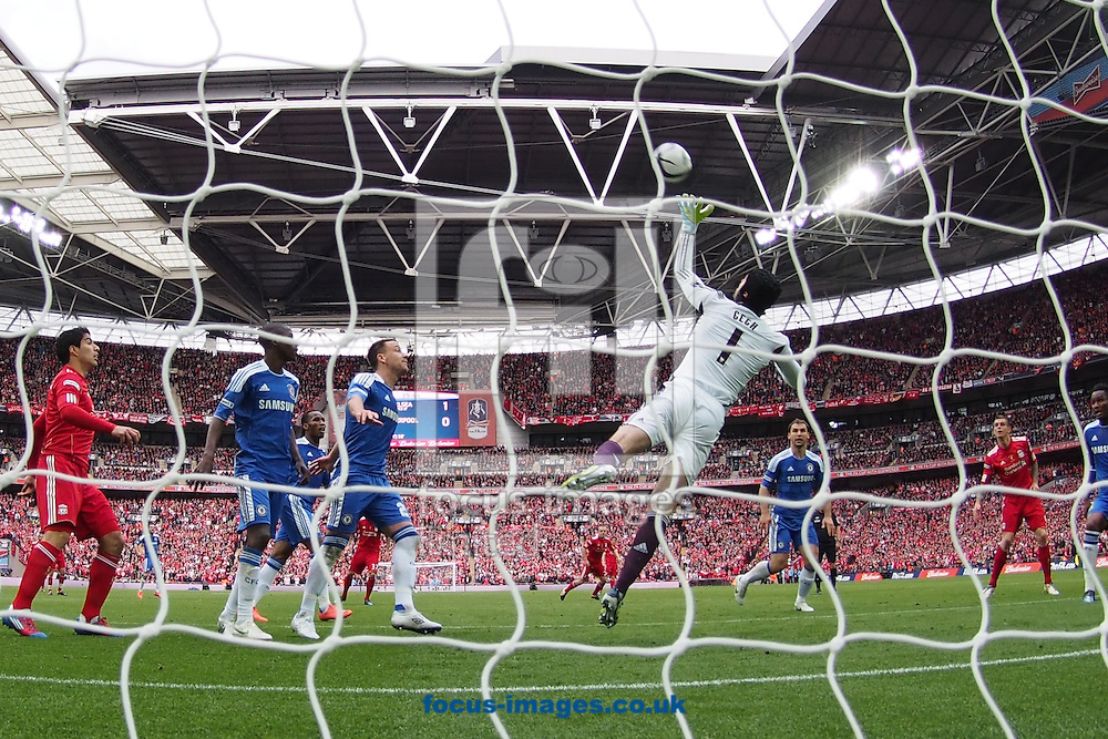 Picture by Andrew Tobin/Focus Images Ltd. 07710 761829. 5/5/12. Petr Cech of Chelsea saves in the first half during the FA Cup Final between Chelsea and Liverpool at Wembley Stadium, London