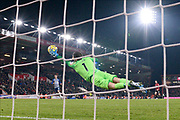 Matthew Ryan (1) of Brighton and Hove Albion makes a diving save during the Premier League match between Bournemouth and Brighton and Hove Albion at the Vitality Stadium, Bournemouth, England on 21 January 2020.