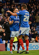 Portsmouth defender Ben Davies and Portsmouth striker Gareth Evans celebrate ports mouths 2nd goal during the Sky Bet League 2 match between Portsmouth and Hartlepool United at Fratton Park, Portsmouth, England on 12 December 2015. Photo by Adam Rivers.