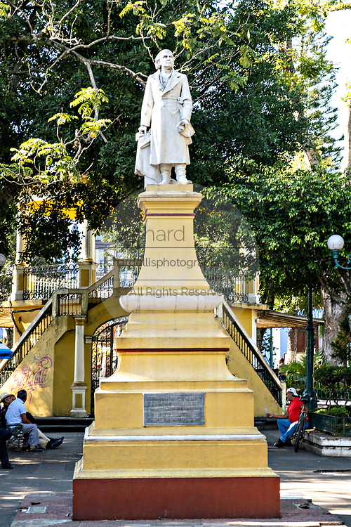Statue of independence hero Miguel Hidalgo in Hidalgo Park in  in the central historic district of Coatepec, Veracruz State, Mexico.