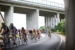 The peloton tackles a technical descent during the Giro Rosa 2016 - Stage 1. A 104 km road race from Gaiarine to San Fior, Italy on July 2nd 2016.
