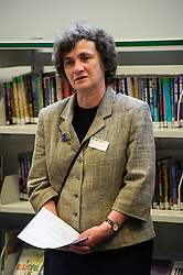 Edinburgh's Bailie Elaine Aitken opened Firrhill High School's 'The Anne Frank: A History For Today' exhibition  today. Baillie Aitken was joined by Heather Boyce from the Anne Frank Trust and second generation Holocaust survivors who spoke of their family members' memories of the war. The ceremony was attended by pupils from Firrhill High, local primary schools and retirement home residents from Old Farm Court and Caiystane Court. Second generation  Holocaust survivor Maria Chamberlain spoke at the opening ceremony. 29 April 2014 (c) GER HARLEY | StockPix.eu