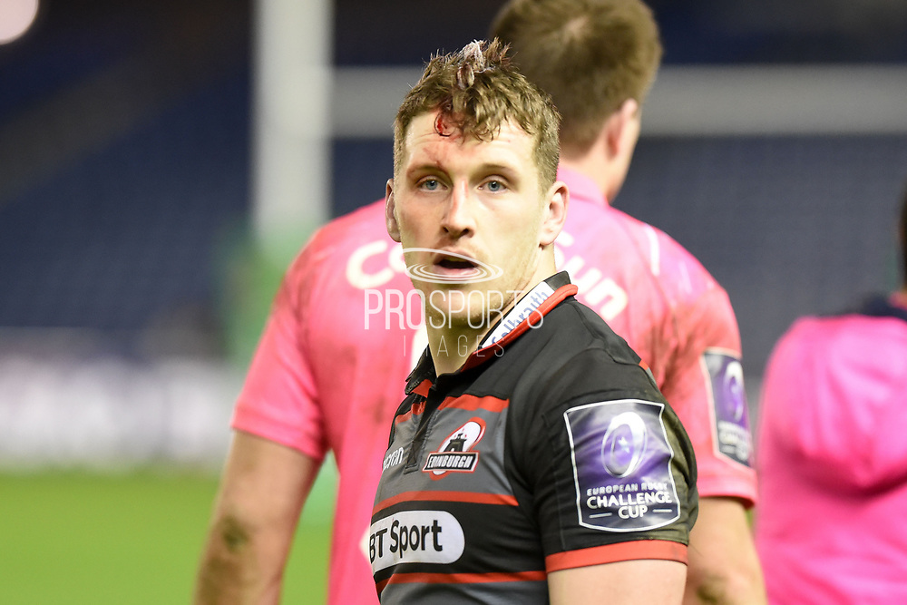 Mark Bennett after 34-33 win in the European Rugby Challenge Cup match between Edinburgh Rugby and Stade Francais at Murrayfield Stadium, Edinburgh, Scotland on 12 January 2018. Photo by Kevin Murray.