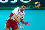Poland's Michal Winiarski serves the ball while volleyball final match between Brazil and Poland during the 2014 FIVB Volleyball World Championships at Spodek Hall in Katowice on September 21, 2014.<br /> <br /> Poland, Katowice, September 21, 2014<br /> <br /> For editorial use only. Any commercial or promotional use requires permission.<br /> <br /> Mandatory credit:<br /> Photo by &copy; Adam Nurkiewicz / Mediasport