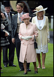 HM The Queen and the Duchess of Cornwall in the parade ring at the Opening day of Royal Ascot 2013 Ascot, United Kingdom<br /> Tuesday, 18th June 2013,<br /> Picture by Andrew Parsons / i-Images