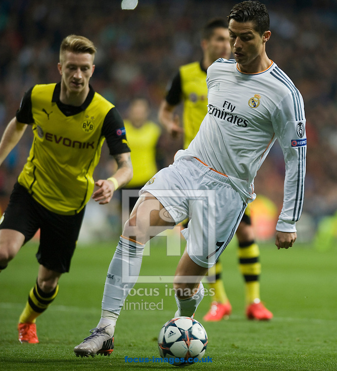 Cristiano Ronaldo of Real Madrid during the UEFA Champions League match at the Estadio Santiago Bernabeu, Madrid<br /> Picture by Marcos Calvo Mesa/Focus Images Ltd +34 654142934<br /> 02/04/2014