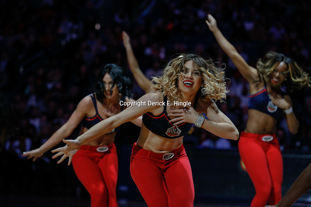 Feb 5, 2018; New Orleans, LA, USA; New Orleans Pelicans dance team performs during the second half against the Utah Jazz at the Smoothie King Center. The Jazz defeated the Pelicans 133-109. Mandatory Credit: Derick E. Hingle-USA TODAY Sports