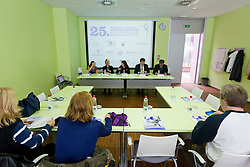 Tjasa Seme, Alena Yakubovska, Ana Rebov, Viljem Psenicny and Ivan Levak at Press conference of 25th International tournament MTM Narodni dom, on April 3, 2012 at Unija racunovodska hisa d. d., Brezovica, Slovenia. (Photo By Matic Klansek Velej / Sportida.com)