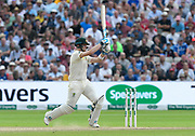 Steve Smith of Australia plays an attacking shot during the International Test Match 2019 match between England and Australia at Edgbaston, Birmingham, United Kingdom on 3 August 2019.