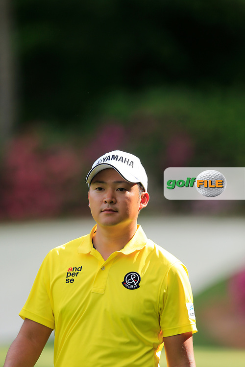 Shugo Imahira (JPN) on the 13th during the 1st round at the The Masters , Augusta National, Augusta, Georgia, USA. 11/04/2019.<br /> Picture Fran Caffrey / Golffile.ie<br /> <br /> All photo usage must carry mandatory copyright credit (© Golffile   Fran Caffrey)