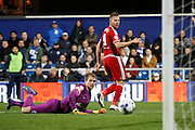 Middlesbrough FC striker Jordan Rhodes (9)  scores a goal during the Sky Bet Championship match between Queens Park Rangers and Middlesbrough at the Loftus Road Stadium, London, England on 1 April 2016. Photo by Andy Walter.