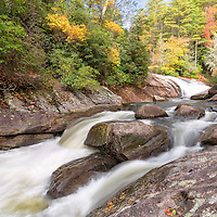 Fall foliage along the Horsepasture River and Turtleback Falls, Pisgah National Forest, North Carolina