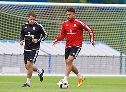 DINARD, FRANCE - Monday, July 4, 2016: Wales' Neil Taylor and sports science coach Adam Owen during a training session at their base in Dinard as they prepare for the Semi-Final match against Portugal during the UEFA Euro 2016 Championship. (Pic by David Rawcliffe/Propaganda)
