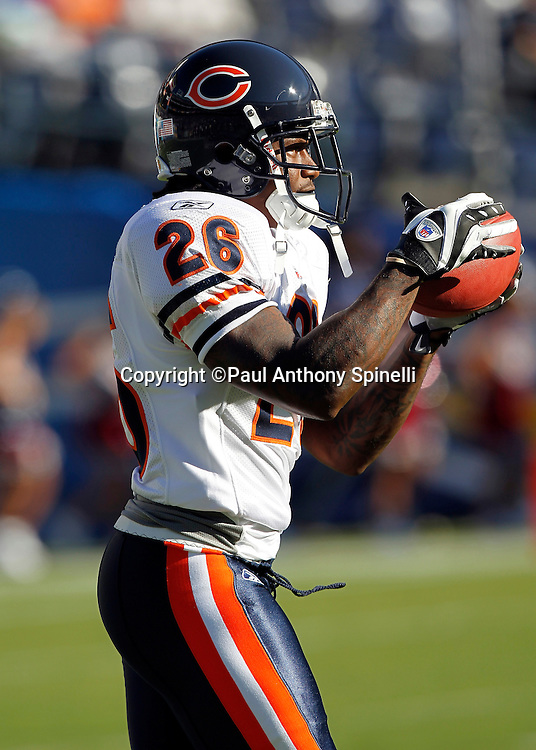 Chicago Bears cornerback Tim Jennings (26) catches a pregame pass during a NFL week 1 preseason football game against the San Diego Chargers, Saturday, August 14, 2010 in San Diego, California. The Chargers won the game 25-10. (©Paul Anthony Spinelli)