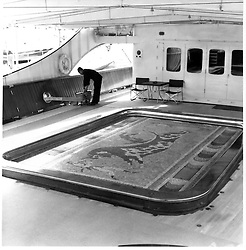 Interior shots of Aristotle Onassis's yacht Christina photographed in 1956.<br /> Picture shows the Swimming Pool decorated in mosaic tiles copying the famous Minos mosaics in Greece.<br /> <br /> <br /> NON EXCLUSIVE - WORLD RIGHTS