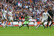 Forest Green Rovers Drissa Traoré(4) clears the ball during the Vanarama National League Play Off Final match between Tranmere Rovers and Forest Green Rovers at Wembley Stadium, London, England on 14 May 2017. Photo by Shane Healey.