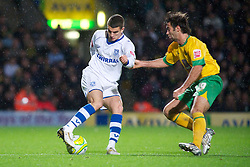 NORWICH, WALES - Saturday, November 14, 2009: Tranmere Rovers' Charlie Barnett turns Norwich City's Simon Lappin off the ball during the League One match at Carrow Road. (Pic by David Rawcliffe/Propaganda)