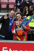 Newest fan at Wigan during the EFL Sky Bet Championship match between Wigan Athletic and Ipswich Town at the DW Stadium, Wigan, England on 23 February 2019.