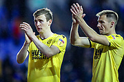 Millwall forward Jón Dadi Bödvarsson (23) and Millwall midfielder Jed Wallace (7) thank the Millwall fans at full time during the EFL Sky Bet Championship match between Reading and Millwall at the Madejski Stadium, Reading, England on 2 November 2019.