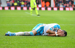 Jamaal Lascelles of Newcastle United goes to ground holding his head after a challenge from Simon Francis ( not pictured ) of Bournemouth - Mandatory byline: Paul Terry/JMP - 07966 386802 - 07/11/2015 - FOOTBALL - Vitality Stadium - Bournemouth, England - AFC Bournemouth v Newcastle United - Barclays Premier League