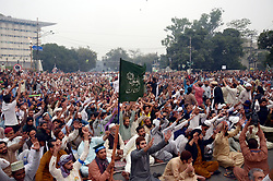 November 2, 2018 - Lahore, Punjab, Pakistan - Supporters of Tehreek-e-Labaik Pakistan(TLP) a hard line religious political party and others workers of religious parties chant slogans during a sit protest against the supreme court decision to overturn the conviction of Christian woman Asia Bibi who spent eight years on death row accused of blasphemy in Lahore on November 02, 2018. Pakistan's Supreme Court on October 31 overturned the conviction of Asia Bibi, a Christian mother facing execution for blasphemy, in a landmark case which has incited deadly violence and reached as far as the Vatican. Pakistan's powerful military warned on November 2 its patience had been thoroughly tested after being threatened by Islamist hardliners enraged by the acquittal of a Christian woman for blasphemy, as the country braced for more mass protests. (Credit Image: © Rana Sajid Hussain/Pacific Press via ZUMA Wire)