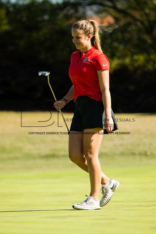 28 March 2018: Sara Kjellker walks off the eleventh green all smiles after birdieing the hole during the final round of match play against UCLA at it's annual March Mayhem Tournament at the Farms Golf Club in Rancho Santa Fe, California.<br /> More game action at sdsuaztecphotos.com
