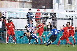 LIVERPOOL, ENGLAND - Monday, April 27, 2009: Waterloo Dock's Craig Sutherland tires an overhead kick against Liverpool during the Liverpool Senior Cup Final at the Arriva Stadium. (Photo by David Rawcliffe/Propaganda)