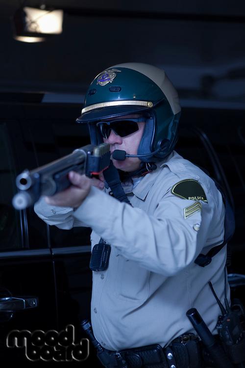 Nightwatch patrolman aiming rifle