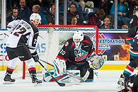 KELOWNA, CANADA - OCTOBER 3:  Jared Dmytriw #22 of the Vancouver Giants tries to put the puck past Roman Basran #30 of the Kelowna Rockets on October 3, 2018 at Prospera Place in Kelowna, British Columbia, Canada.  (Photo by Marissa Baecker/Shoot the Breeze)  *** Local Caption ***
