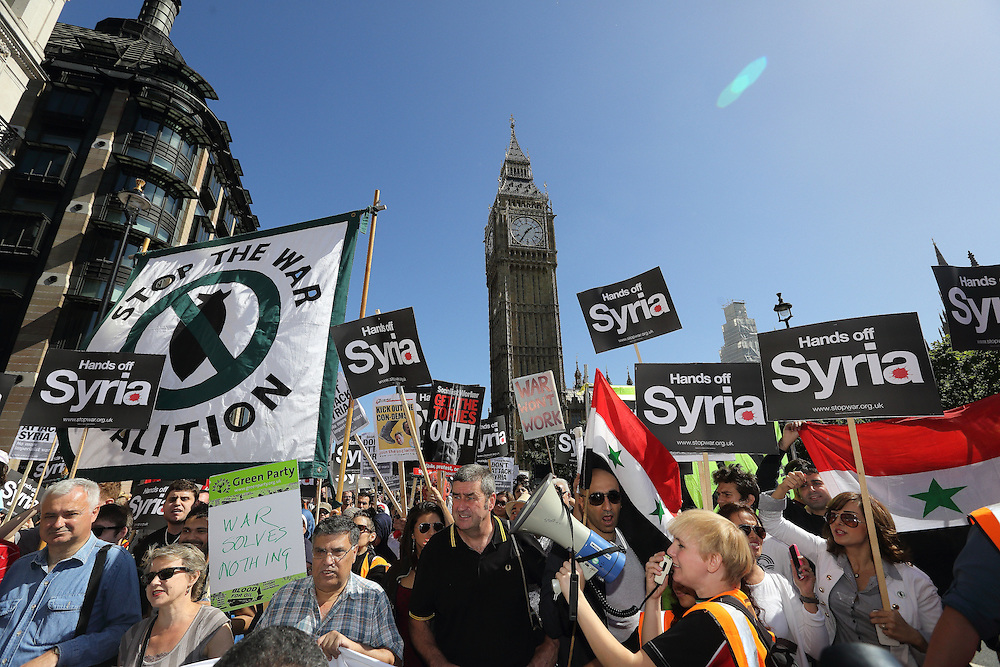A march arranged by the Stop the War Coalition and CND responded to the threat of military intervention in Syria. Although the UK Government voted against any action a few days ago, the US still consider that they have a right to make some sort of attack.