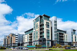 Large modern apartment blocks at Platinum Point  at Western Harbour in Leith, Edinburgh, Scotland, UK