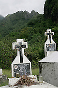 Cemetery, Hanavave, Island of Fatu Hiva, Marquesas Islands, French Polynesia<br />