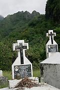 Cemetery, Hanavave, Island of Fatu Hiva, Marquesas Islands, French Polynesia<br />