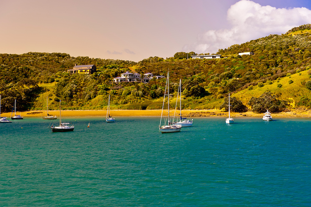 Harbor at Waiheke Island, Hauraki Gulf near Auckland, New Zealand