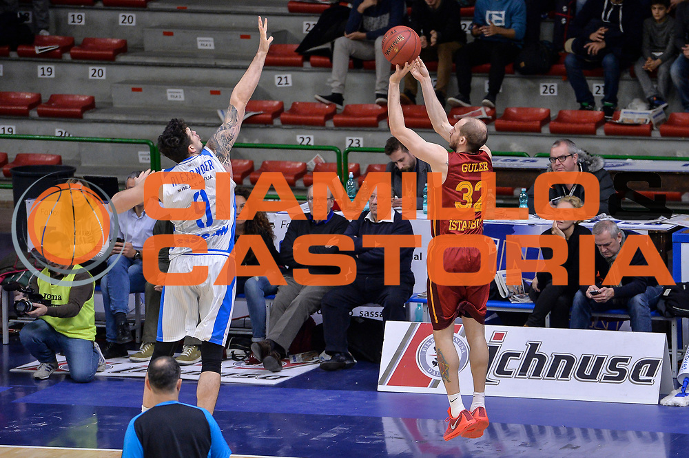 DESCRIZIONE : Eurocup Last 32 Group N Dinamo Banco di Sardegna Sassari - Galatasaray Odeabank Istanbul<br /> GIOCATORE : Sinan Guler<br /> CATEGORIA : Tiro Tre Punti Three Point Controcampo Ritardo<br /> SQUADRA : Galatasaray Odeabank Istanbul<br /> EVENTO : Eurocup 2015-2016 Last 32<br /> GARA : Dinamo Banco di Sardegna Sassari - Galatasaray Odeabank Istanbul<br /> DATA : 13/01/2016<br /> SPORT : Pallacanestro <br /> AUTORE : Agenzia Ciamillo-Castoria/L.Canu