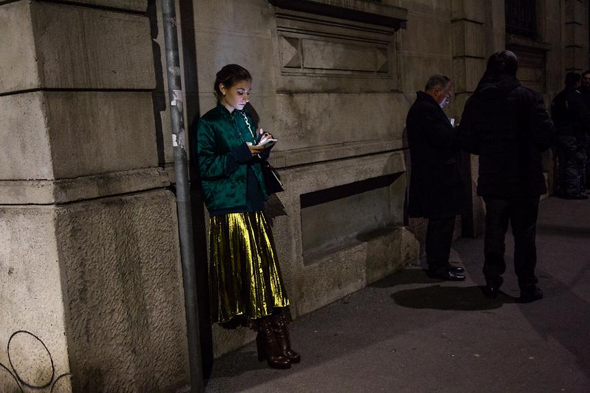 Apres le defile de Prada, a la semaine de la mode de Milan