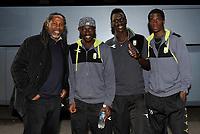 Fotball<br /> 16. Mai 2014<br /> Tippeligaen<br /> Brann Stadion<br /> Brann v Bodø Glimt<br /> Jimmy Adjovi-Boco (L) , direktør ved Diambars-akademiet i Senegal , Papa Alioune Ndiaye (3R), Vieux Sane (2R) og Moustapha Ndiaye (R) , Bodø Glimt<br /> Foto Astrid M. Nordhaug