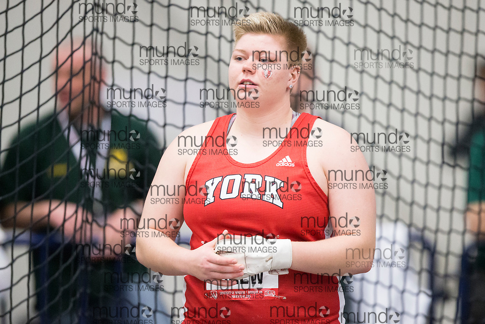 Windsor, Ontario ---2015-03-12--- Brittany Crew of York University   competes in the weight throw at the 2015 CIS Track and Field Championships in Windsor, Ontario, March 12, 2015.<br /> GEOFF ROBINS/ Mundo Sport Images