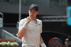 May 9, 2018 - Madrid, Madrid, Spain - KYLE EDMUND celebrates in a match against NOVAK DJOKOVIC during the 2nd round of Mutua Madrid Open 2018 - ATP in Madrid. KYLE EDMUND won the match 6-3 2-6 6-3. (Credit Image: © Patricia Rodrigues/via ZUMA Wire via ZUMA Wire)
